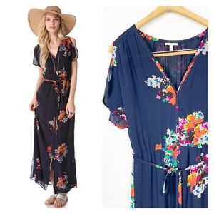 Joie Blue Floral Silk Maxi Dress Lunaria Large